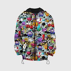 Детская 3D-куртка с капюшоном с принтом Stickerboom, цвет: 3D-черный, артикул: 10207269505458 — фото 1