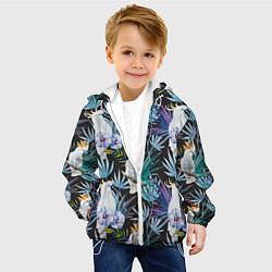 Куртка с капюшоном детская Тропические попугаи цвета 3D-белый — фото 2