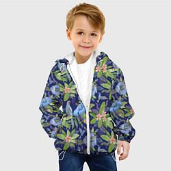 Детская 3D-куртка с капюшоном с принтом Голубые попугаи, цвет: 3D-белый, артикул: 10065279505458 — фото 2
