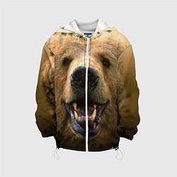 Детская 3D-куртка с капюшоном с принтом Взгляд медведя, цвет: 3D-белый, артикул: 10069240105458 — фото 1