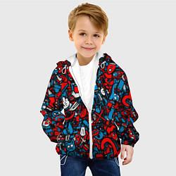 Куртка с капюшоном детская Стикербомбинг цвета 3D-белый — фото 2
