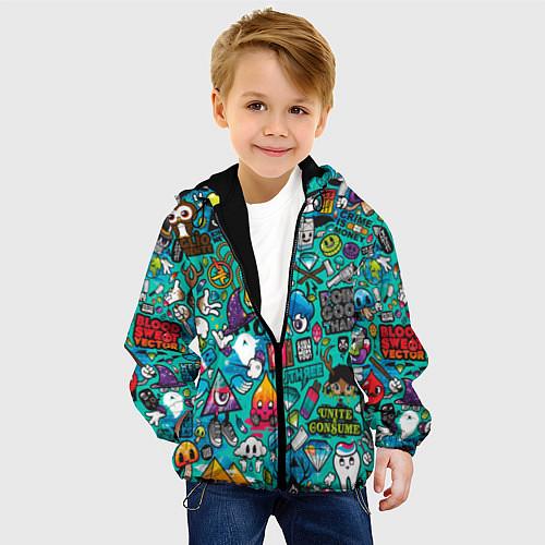 Детская куртка Стикербомбинг / 3D-Черный – фото 4