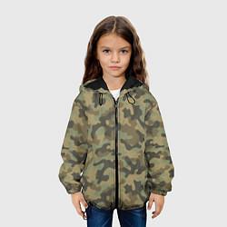Куртка с капюшоном детская Камуфляж: хаки цвета 3D-черный — фото 2