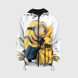 Детская 3D-куртка с капюшоном с принтом Minion loves banana, цвет: 3D-черный, артикул: 10073299405458 — фото 1