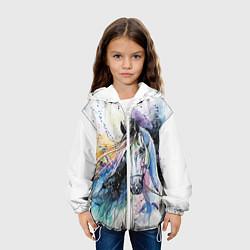 Детская 3D-куртка с капюшоном с принтом Акварельная лошадь, цвет: 3D-белый, артикул: 10079155405458 — фото 2