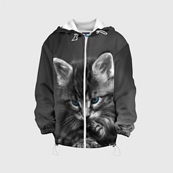 Куртка с капюшоном детская Голубоглазый котенок цвета 3D-белый — фото 1
