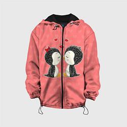 Куртка с капюшоном детская Влюбленные пингвины цвета 3D-черный — фото 1