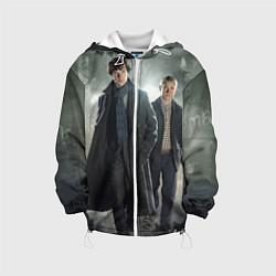 Детская 3D-куртка с капюшоном с принтом Шерлок и Доктор, цвет: 3D-белый, артикул: 10084293805458 — фото 1