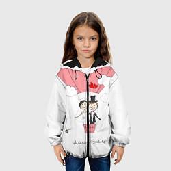 Куртка с капюшоном детская Молодожены на шаре цвета 3D-черный — фото 2