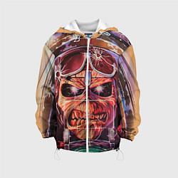 Детская 3D-куртка с капюшоном с принтом Iron Maiden: Dead Rider, цвет: 3D-белый, артикул: 10089879805458 — фото 1