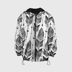 Куртка с капюшоном детская Перья цвета 3D-черный — фото 1