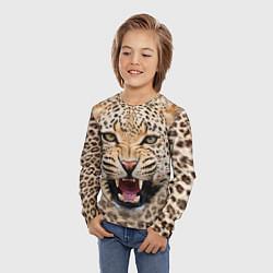 Лонгслив детский Взгляд леопарда цвета 3D-принт — фото 2