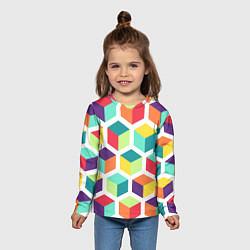 Лонгслив детский 3D кубы цвета 3D — фото 2