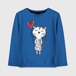 Лонгслив хлопковый детский Влюбленная котейка цвета синий — фото 1