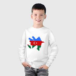 Лонгслив хлопковый детский Azerbaijan map цвета белый — фото 2