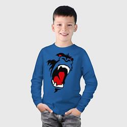 Лонгслив хлопковый детский King kong face цвета синий — фото 2