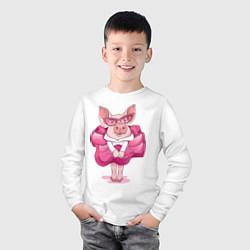 Лонгслив хлопковый детский Мисс Свинка цвета белый — фото 2