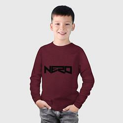Лонгслив хлопковый детский Nero цвета меланж-бордовый — фото 2