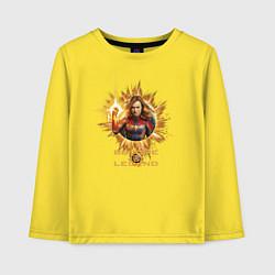 Лонгслив хлопковый детский Capt Marvel: Become a Legend цвета желтый — фото 1
