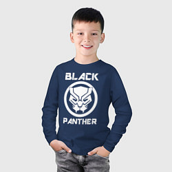 Лонгслив хлопковый детский Черная пантера цвета тёмно-синий — фото 2