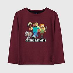 Лонгслив хлопковый детский MINECRAFT цвета меланж-бордовый — фото 1