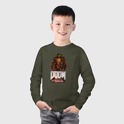 Лонгслив хлопковый детский DOOM ETERNAL цвета меланж-хаки — фото 2