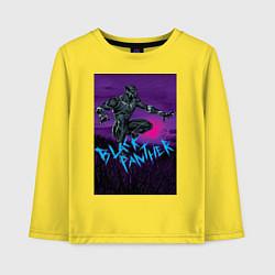 Лонгслив хлопковый детский Черная Пантера Мстители цвета желтый — фото 1