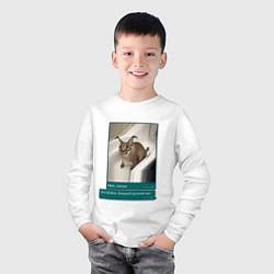 Лонгслив хлопковый детский Шлёпа цвета белый — фото 2