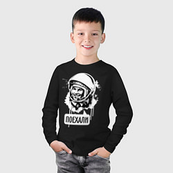 Лонгслив хлопковый детский Гагарин: поехали цвета черный — фото 2