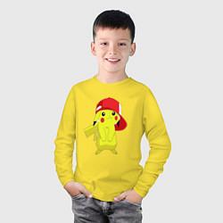Лонгслив хлопковый детский Пикачу цвета желтый — фото 2
