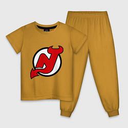 Пижама хлопковая детская New Jersey Devils цвета горчичный — фото 1