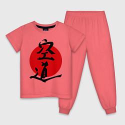 Пижама хлопковая детская Kudo: Hieroglyph цвета коралловый — фото 1