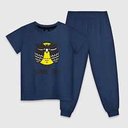Пижама хлопковая детская Owl: Wake up! цвета тёмно-синий — фото 1