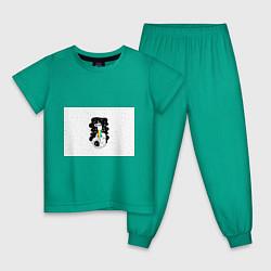 Пижама хлопковая детская Единорог астронавт цвета зеленый — фото 1