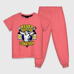 Пижама хлопковая детская Never Give Up: Cenation цвета коралловый — фото 1