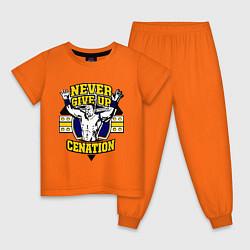 Пижама хлопковая детская Never Give Up: Cenation цвета оранжевый — фото 1