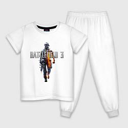 Пижама хлопковая детская Battlefield 3 цвета белый — фото 1