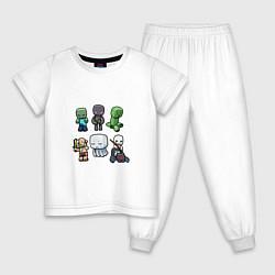 Пижама хлопковая детская Minecraft Units цвета белый — фото 1