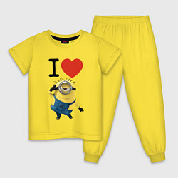 Пижама хлопковая детская I love Minion цвета желтый — фото 1