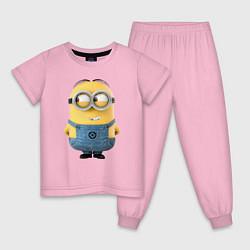 Пижама хлопковая детская Хитрый Миньон цвета светло-розовый — фото 1