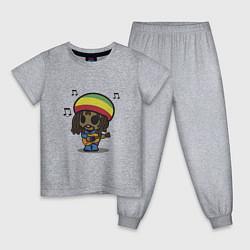 Пижама хлопковая детская Маленький Боб Марли цвета меланж — фото 1