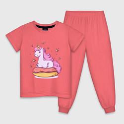 Пижама хлопковая детская Единорог на пончике цвета коралловый — фото 1