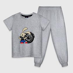 Пижама хлопковая детская Blink-182: Street rabbit цвета меланж — фото 1