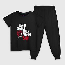 Пижама хлопковая детская Good girls they like to sin цвета черный — фото 1