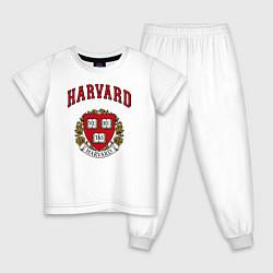 Пижама хлопковая детская Harvard university цвета белый — фото 1