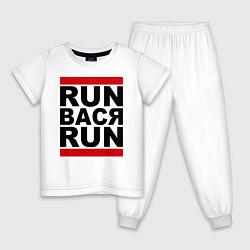 Пижама хлопковая детская Run Вася Run цвета белый — фото 1