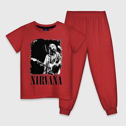 Пижама хлопковая детская Black Nirvana цвета красный — фото 1
