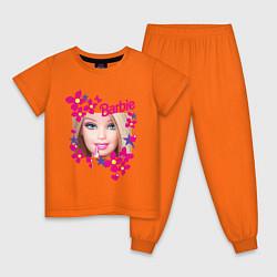 Пижама хлопковая детская Барби красавица цвета оранжевый — фото 1