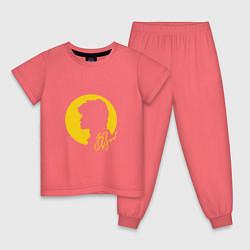 Пижама хлопковая детская Виктор Цой цвета коралловый — фото 1