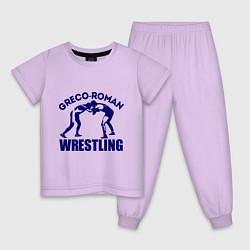 Пижама хлопковая детская Greco-roman wrestling цвета лаванда — фото 1